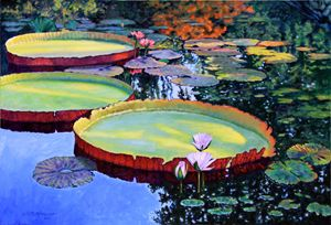 Sunspots on Lily Pond - Paintings by John Lautermilch