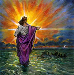 Sketch for Jesus Walking on Water - Paintings by John Lautermilch