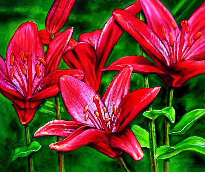 Red Lilies - Paintings by John Lautermilch