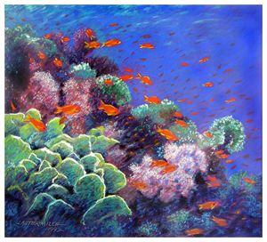 Golden Fish Reef - Paintings by John Lautermilch