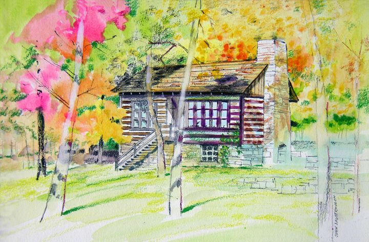 Fall Cabin - Paintings by John Lautermilch