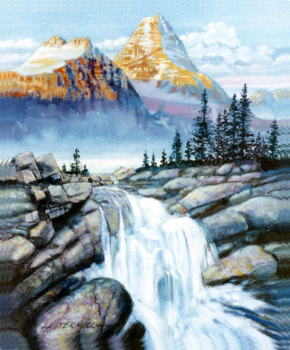 Mountain Waterfall - Paintings by John Lautermilch