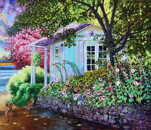 Little White Flower Shed - Paintings by John Lautermilch