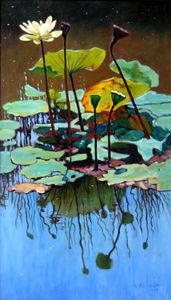 Lotus in July - Paintings by John Lautermilch