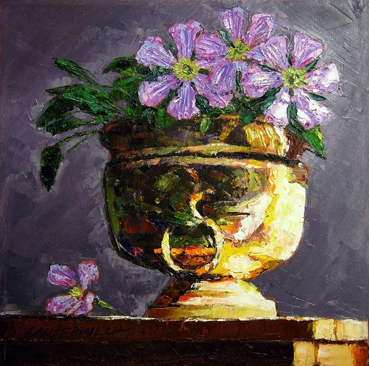 Golden Flower Pot 19-2008 - Paintings by John Lautermilch