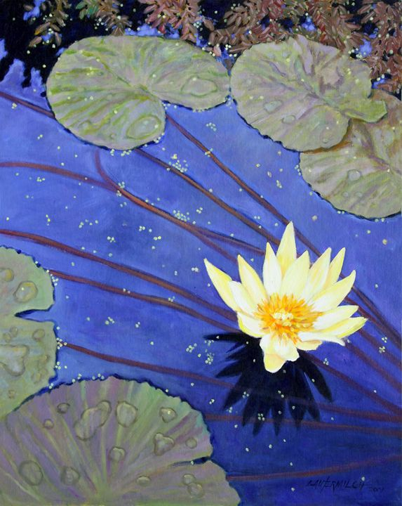 Yellow on Blue - Paintings by John Lautermilch