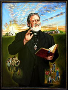 Pastor Klaus portrait - Paintings by John Lautermilch