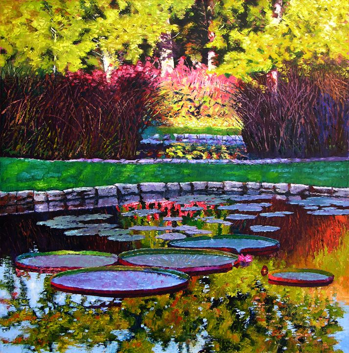 Garden Ponds Tower Grove Park - Paintings by John Lautermilch