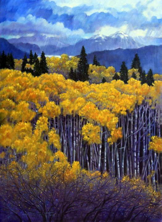 Tall Aspens 67-2004 - Paintings by John Lautermilch