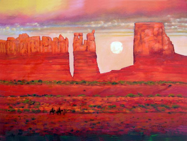 Golden Red Sunset 133-1993 - Paintings by John Lautermilch