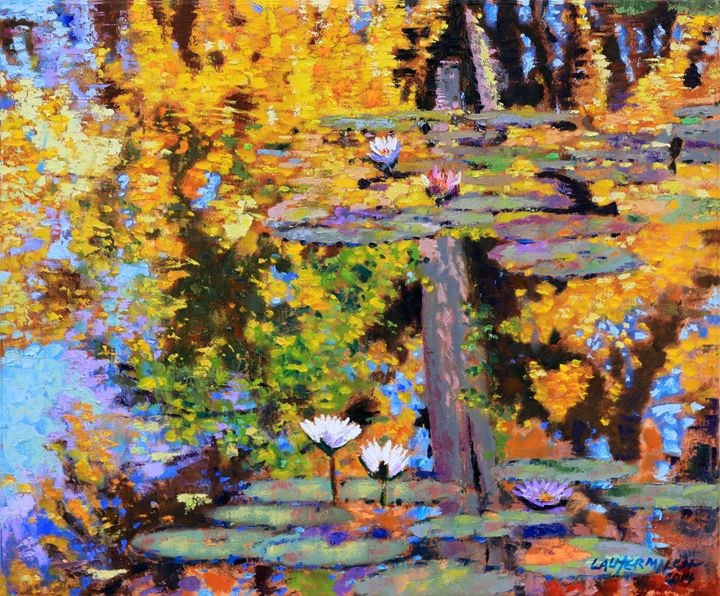 Fall Lily Pond Reflections 2-2014 - Paintings by John Lautermilch