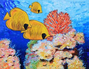 Masked Butterfly Fish - Paintings by John Lautermilch
