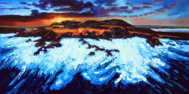 Angry Ocean - Peaceful Sunset - Paintings by John Lautermilch