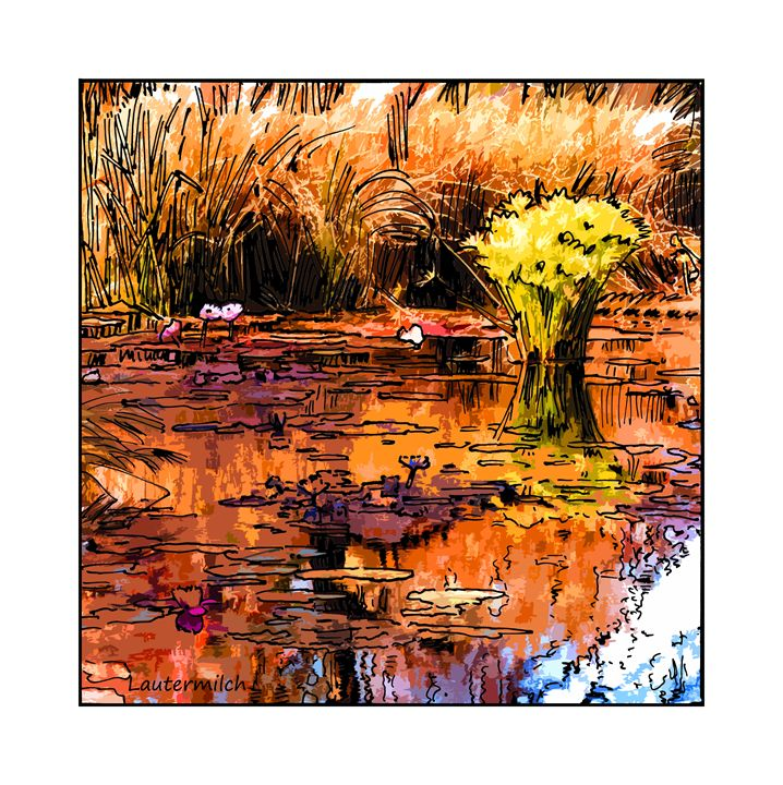 Autumn on the Garden Pond - Paintings by John Lautermilch