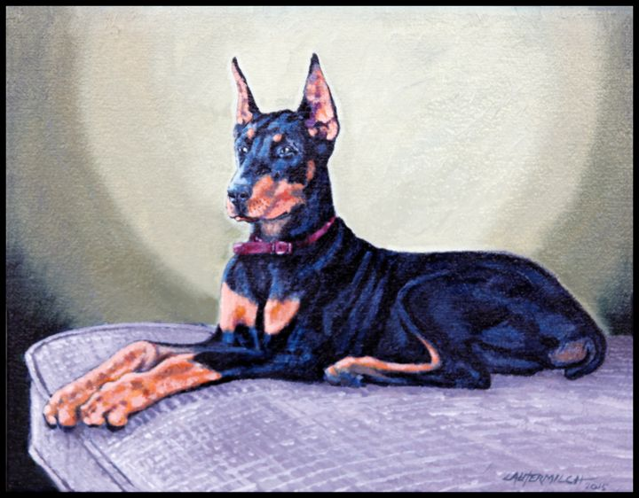 Doberman Pinscher for Teri - Paintings by John Lautermilch