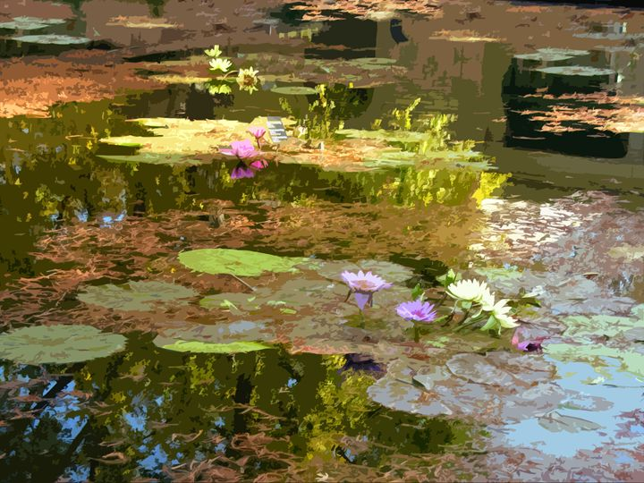 Fall Water Lilies - Paintings by John Lautermilch