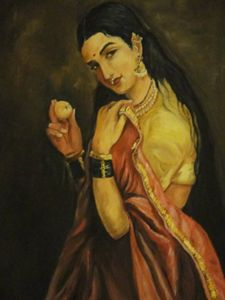 Raja Ravi Varma lady with lemon