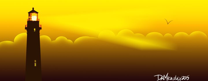 Lighthouse In Yellow Sunset Sky - Art of Don Macauley