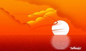 Sunset in Orange Sky