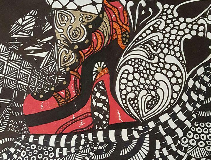 Zentangle Shoe Red Gold and Orange - Debra Brewer Art Gallary