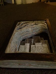 Skyline book carving - Art by Lindsey
