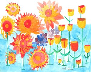 Sunflowerswith Blue Background
