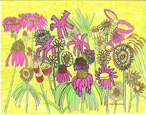 bright flowerswith yellow background