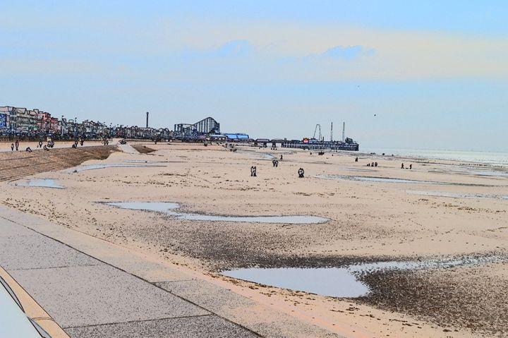 Blackpool big dipper, beach and pier - Timawells