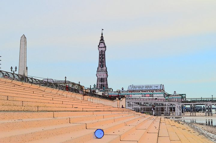 Blackpool Tower photograph sketch. - Timawells