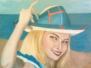 The Pretty Blonde Holds Her Hat Down