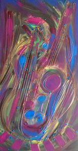 Pink Lady Sax Jazz - JazzXpressionstudio Art
