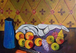 Blue Vase and Fruit