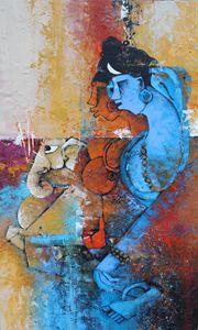 Shiva and Parvati with baby Ganesha