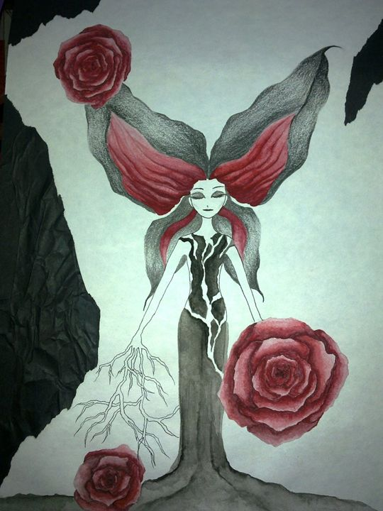 butterfly head body tree - Crimson May