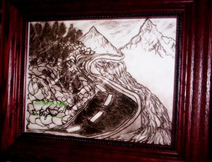 Pencil Art Drawing Mountain River
