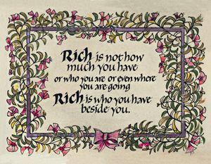 Rich Calligraphy Art Print