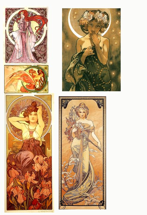 5  ART NOUVEAU  BLANK NOTE CARDS - Will Clark Art