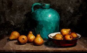 Teal jug and pears
