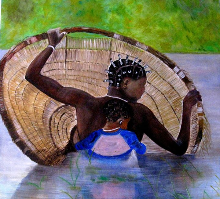 African woman fishing - Anne Delcampe