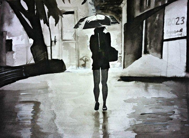 Girl Clutching Umbrella - RAWART