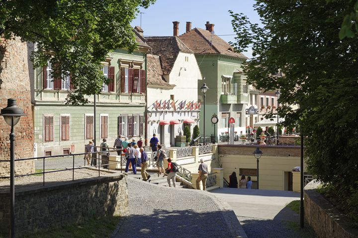 Tourists visiting Old Town Sibiu Rom - Adrian Bud