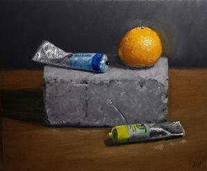 Orange and oil paint
