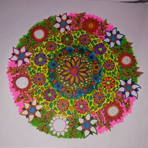 Hand Drawn Flower Mandala Colorful