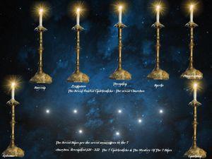 7 golden candle sticks & Seven Stars