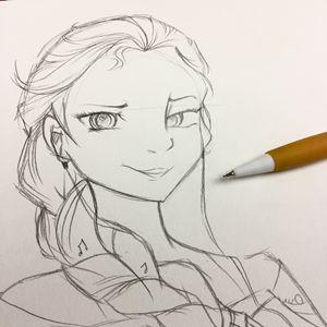 Musical Elsa Pencil Sketch