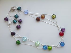 Lampwork beads set with silver chain