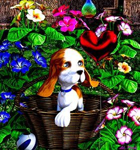 puppy dog for birthday - digital art