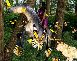 Animals in forrest. - digital art