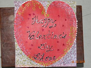 Front view of handmade Valentines