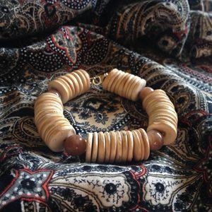 Sunstone and coconut bracelet